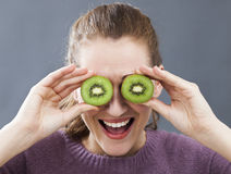 Laughing beautiful young woman for fun look or energetic vitamins stock photo