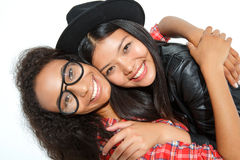 Laughing best friends hugging Stock Photo
