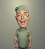 Laughing bighead doctor in uniform Royalty Free Stock Image