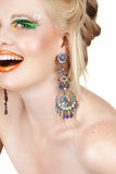 Laughing blond with eyelashes Stock Image