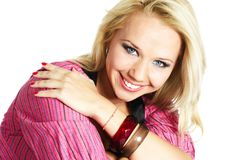 Laughing blonde woman Stock Image