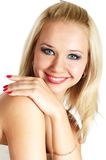 Laughing blonde woman. Laughing young blonde woman on white Royalty Free Stock Image