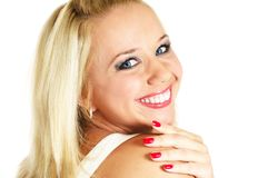 Laughing blonde woman Royalty Free Stock Images