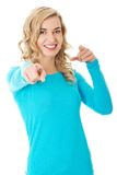 Laughing blonde woman pointing on you Royalty Free Stock Photo