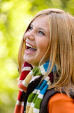 Laughing blonde young girl nature carefree autumn Stock Photography