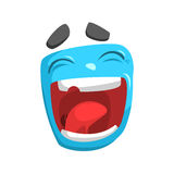 Laughing Blue Emoji Cartoon Square Funny Emotional Face Vector Colorful Isolated Sticker Stock Photo
