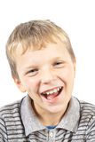 Laughing boy. Portrait of a laughing blond boy on white background Royalty Free Stock Photo
