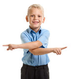 Laughing boy gesturing Stock Images