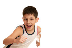 Laughing boy is going in for athletics Royalty Free Stock Photo