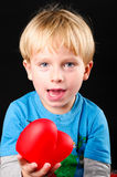 Laughing boy with heart Stock Photo