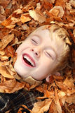 Laughing boy in a pile of leaves Royalty Free Stock Photography