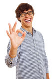 Laughing boy showing Ok sign Stock Image