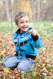 Laughing boy sitting on fallen leaves, autumn park Royalty Free Stock Photography