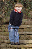 Laughing boy on stairs Royalty Free Stock Images