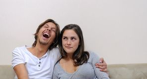 Laughing boyfriend Royalty Free Stock Photography