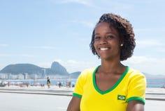Laughing brazilian sports fan at Rio de Janeiro Royalty Free Stock Images