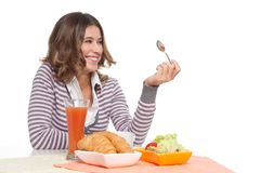 Laughing while breakfast Royalty Free Stock Image
