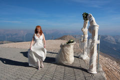 A laughing red-haired bride Stock Photo