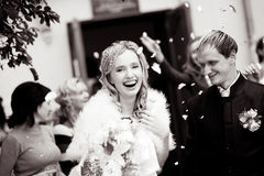 Laughing bride. And groom during wedding ceremony Royalty Free Stock Photo