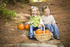 Free Laughing Brother And Sister Children Sitting On Wood Steps With Pumpkins Royalty Free Stock Photos - 27115208