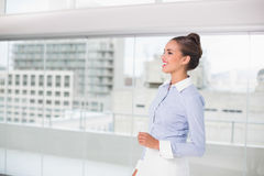 Laughing brunette businesswoman standing Stock Photos