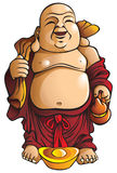 Laughing Buddha. With huge belly, sack and gold ingot, traditional Chinese god, vector illustration Royalty Free Stock Photo