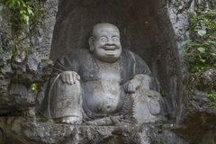 Laughing Buddha of Lingyin Temple royalty free stock images