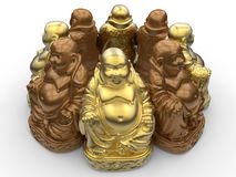 Laughing Buddha statue array Royalty Free Stock Photo