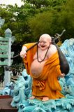 Laughing Buddhist monk on journey Royalty Free Stock Photo