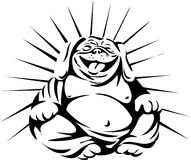 Laughing Bulldog Buddha Sitting Black and White Royalty Free Stock Image