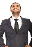 Laughing business man looking up Royalty Free Stock Image
