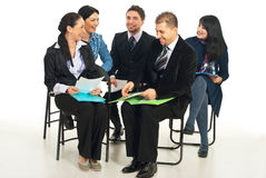 Laughing business people at conference Royalty Free Stock Photography