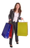 Laughing business woman with gift bag. Stock Images