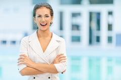 Laughing business woman in glasses Stock Images