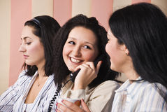 Laughing business woman speaking at phone Royalty Free Stock Photography