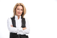 Laughing business woman in white shirt. Royalty Free Stock Photos