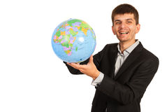 Laughing businessman hold world globe Royalty Free Stock Photography
