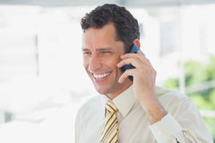 Laughing businessman on the phone Stock Photography