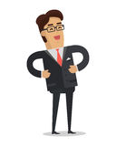 Laughing Businessman Vector in Flat Design Royalty Free Stock Image