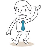 Laughing businessman walking and greeting Royalty Free Stock Images