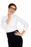 Laughing businesswoman in glasses Stock Photos