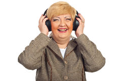 Laughing businesswoman with headphones Royalty Free Stock Image