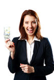 Laughing businesswoman holding US dollars Stock Photos