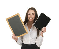 Businesswoman with tablet pc and board Royalty Free Stock Photos