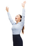 Laughing businesswoman waving hands Royalty Free Stock Image