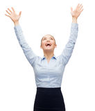 Laughing businesswoman waving hands Stock Photography