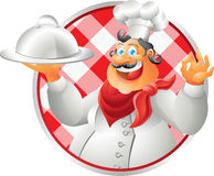 Laughing bust chef table cloth Stock Photo