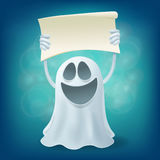 Laughing cartoon ghost with banner Stock Photography