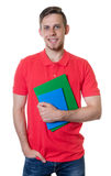 Laughing caucasian male student with red shirt and blonde hair stock images
