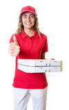 Laughing caucasian pizza delivery woman Stock Photos
